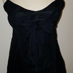 Karen Kane Black Silk Beaded Bow Adjustable Top